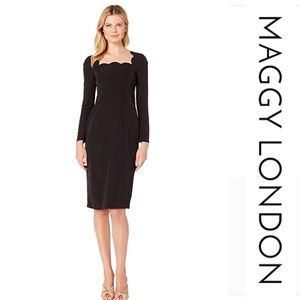 MaggyLondon Square Neck Dream Crepe Midi Dress*NWT